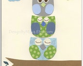 Owl Decor - Nursery Print For Baby Boy's Room Featuring 3 Stacked Baby Owls in Blue, Green, Gray & Brown - 8 x 10 Art Print For Nursery