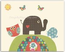 Nursery Art Decor, Kids Print, Baby boy safari nursery,  baby turtle, owl, Happy together, elephant, peach green and brown