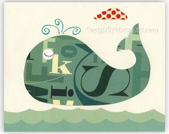 Baby room print Nursery Decor Art for Kids Room..Vintage whale