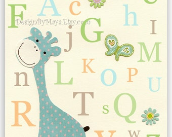 Kids Room Decor Nursery Art Alphabet giraffe ..Giraffe alphabet