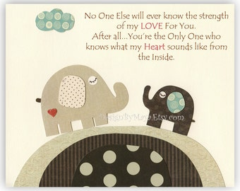 Baby boy room art, Nursery print, Baby elephant...No One...the strength of my LOVE For You..