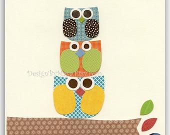 Baby boy nursery decor, Nursery wall art print, Owls ...Larghe Medium Small green blue red orange