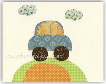 Baby Boy Travel Nursery Theme - Travel With Your Car Nursery Wall Art Decor For Baby Boy Room Decor - Teal Green Blue Orange