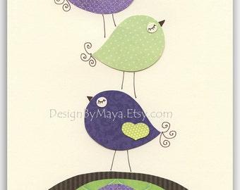 Baby girl Room Decor Nursery Art birds..Violet Green Birds on the top