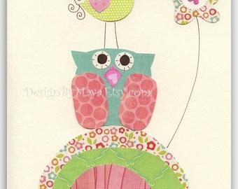 Nursery wall Art, Baby girl Room Decor, turtle, owl...Turquoise owl with a bird