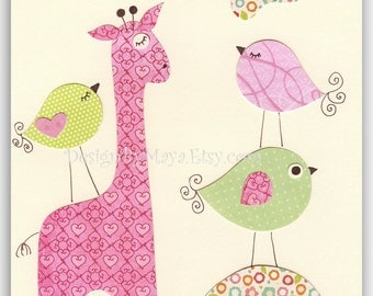 Nursery Print Art Decor Kids Print Animals birds...light pink light green giraffe
