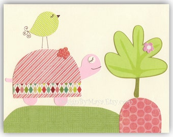 Baby girl nursery Print Art Decor Kids Animals pink turtle...light pink light green clover