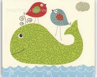Nursery wall art print Baby boy room decor Owls ...Green Whale