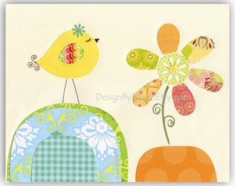 Nursery wall art Print Art Love birds...Light blue Yellow Flower