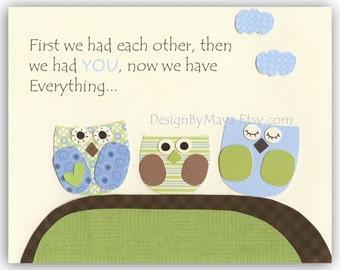 Baby boy Nursery wall art Decor Children Art print owls...first we had each other...