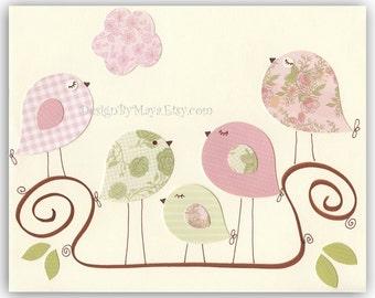 Children Bedroom Wall Decor // Nursery Wall Decor // Play Room Wall Decor // Baby Bedroom Love Birds // Colors: Light Green Pink Brown