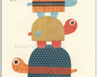 Nursery wall art print, Baby boy room decor, turtle ...Stacked turtles.....dark light blue orange, teal and tangarine