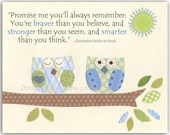 Baby boy Nursery, wall art Decor, Children Art print, owls...Promise me youll always remember You're braver than...green blue owls
