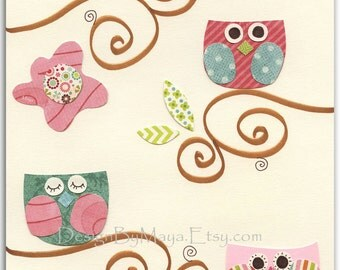 Nursery wall Art, Baby girl nursery Decor, baby owl...Pastel series 3 owls on branch