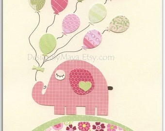 Nursery wall art print, Baby girl room decor, baby elephant, Pink elephant with balloons, bright pink light pink