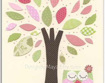 Owl Nursery Art Print - Nursery Collage, hayley, owl tree, nursery tree, pink and green owl, baby girl, girl room art decor