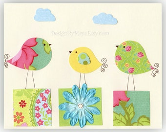 Kids Room Decor , baby girl room, Nursery wall art print, love birds ..Waiting..match to colors of daisy bedding, kids room art, children