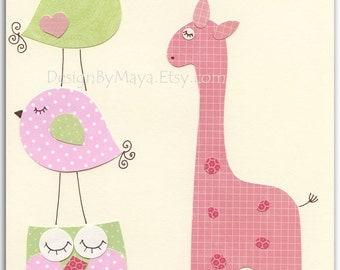 Baby girl nursery, Nursery wall art print, Baby girl room decor..pink giraffe..light pink light green match colors of Hayley, kids room art