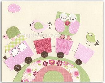 Nursery wall art print, Baby girl room decor, owl, bird, turtle...Train.....light pink light green match to Hayley colors