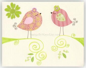 Love Birds for Baby Girl Nursery Room // Nursery Love Birds Decor // children decor, kids wall art, baby room // Colors: Pink and Green