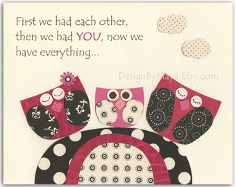 Baby girl, Nursery wall art print, Baby room decor, baby owl ...first we had each other..pink, black and white, polka dots