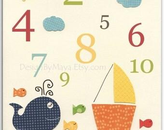 Nursery wall art, Baby room print, Nursery Decor, Art for Kids Room, Numbers...123..baby whale, fish, nautical print, boat