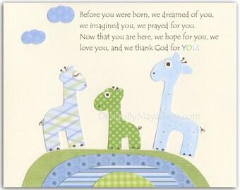 Baby boy Nursery, wall art Decor, Children Art print, Giraffe..Before you were born..match to the colors Eli's elephants, baby room decor