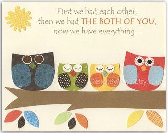 Baby twins print  Nursery Art Decor  Tree top Friends  Kids art Neutral colors First we had twins Baby owl Orange Blue Green Red Yellow art