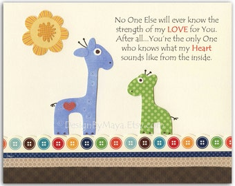 Nursery wall art print, Baby Room Decor, Giraffe ...No one else..blue, green, brown, orange