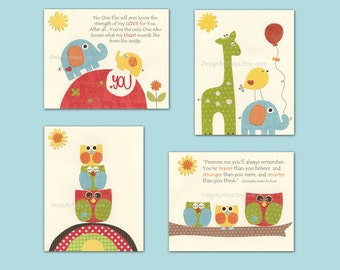 Nursery art prints, Baby Room decor, Nursery Art Decor, Kids Print, elephant, owl, giraffe, red, orange, green, blue, yellow set of 4 prints