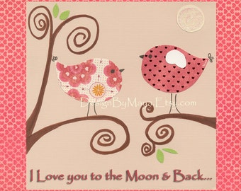 Baby Room Decor Birds..Personalized - I love you to the moon and back