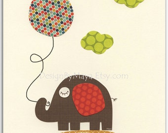 Nursery art print, play room art, baby room, BABY decor,  Balloon, elephant, owl, Alphabet, red, brown, teal, sage green, orange, yellow
