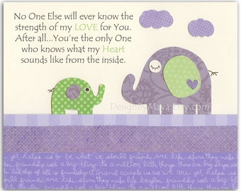 Kids Room Decor, Nursery wall Art print, baby elephant ..No one else will ever know...lilac, purple, lavender, green