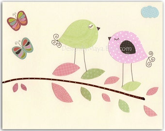 Baby girl room art, Nursery wall art Decor, Children Art print, birds...Banana Fish, love birds, pink, green, brown, baby blue