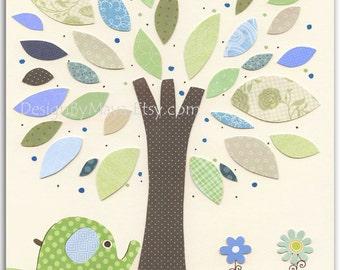 Baby boy, Nursery wall art Decor, Children Art..Tree. light blue light green match the colors of Eli elephant