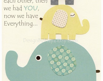 Gender Neutral Nursery Art Decor For Kids - Gender Neutral Nursery Art, Baby Elephant - First We Had each Other - Gray Yellow teal, grey