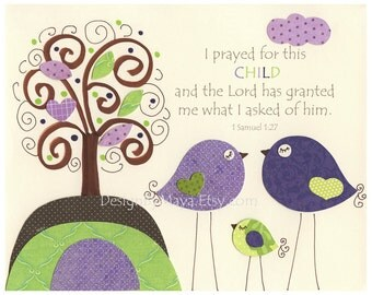 Nursery wall art Decor, Children Art, baby girl room art, birds...I prayed for this CHILD, violet, purple, lavender, brown, green, tree