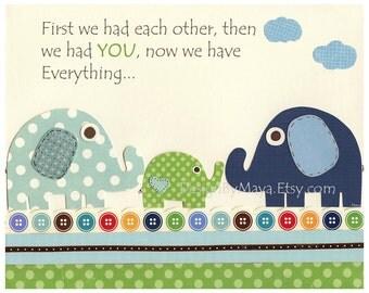 Baby room, Nursery wall art Decor, Art for Kids, baby elephant..baby blue, Blue Green, first we had..