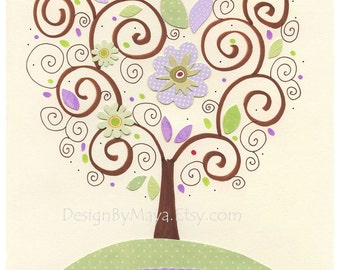 Baby girl Room Decor, Nursery wall Art prints, purple tree, clover, match the colors Gabrielle bedding, lavender and green, Butterfly, nojo