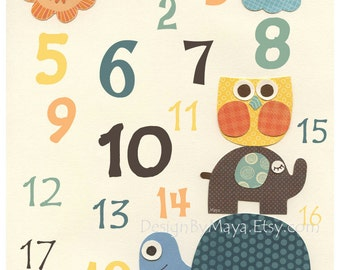 Nursery wall art print, Baby Turtle, baby owl, Baby boy room decor, 123, number print..teal, brown yellow and orange