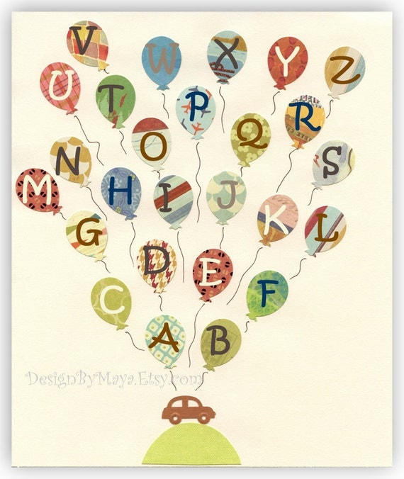 Baby Nursery Art Decor...UP, balloons, brown, red, green, yellow, vintage style, car