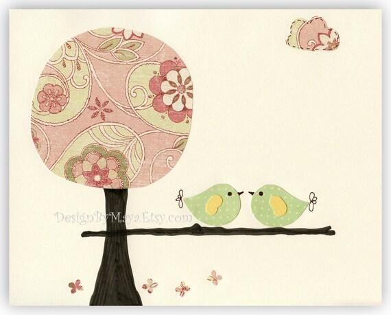 Baby girl art, Children Room Decor Nursery Art, love birds...Love tweet, pale pink, green, sage, baby bird, pink tree