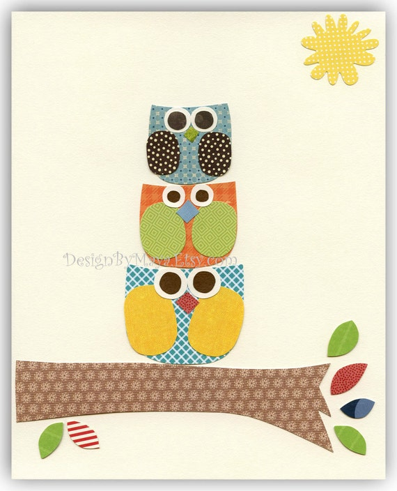 Baby boy nursery decor, Nursery wall art print, Owls ...Larghe Medium Small green blue red orange