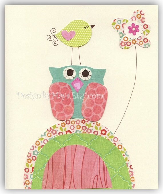 Nursery wall Art, Baby girl Room Decor, turtle, owl...Turquoise owl with a bird