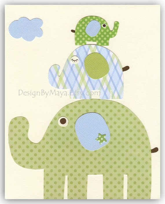 Nursery wall art Decor Children Art print elephant...Large Medium Small light blue light green
