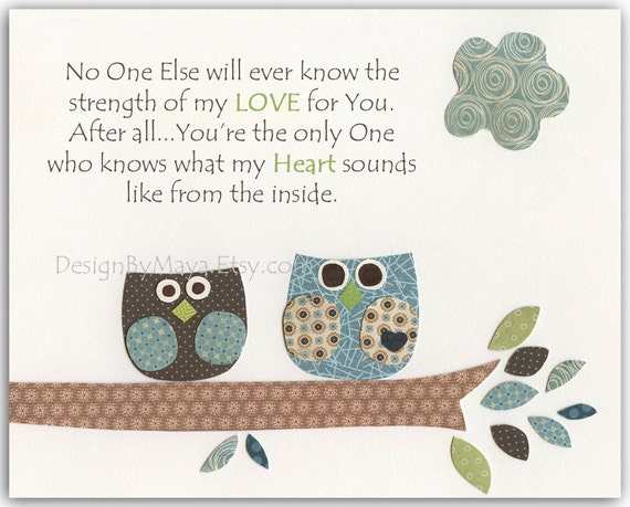 Baby Boy Baptism Decor Owl Decor Print Featuring Two Cute