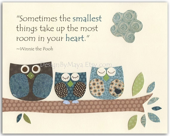 Baby boy Baptism, Nursery wall art Decor, owls..Sometimes the smallest things....Winnie the Pooh...match the colors of retro owl bedding