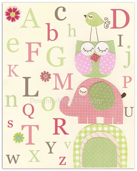 Nursery Letters, Nursery Alphabet Letters, Wall Letters for Nursery Room, Nursery Art Letters ABC // Nursery Owl Bird Elephant // 8x10 Prin
