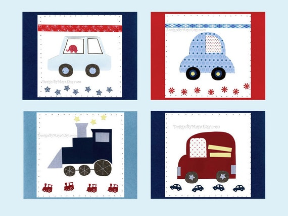 Baby Nursery Art Decor...Automobile set of 4 8x10 prints, auto set, car, fire truck, train, red blue white