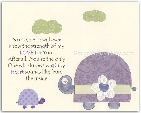 Kids Room Decor, Nursery wall Art print, baby turtle ..No one else will ever know...lilac, purple, lavender